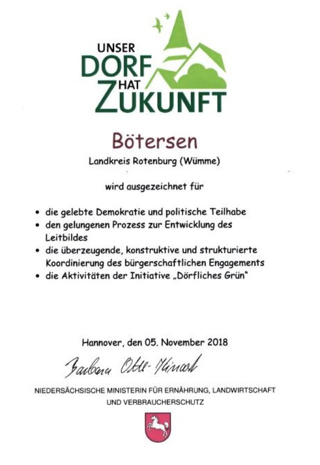 Urkunde Landeswettbewerb 2018