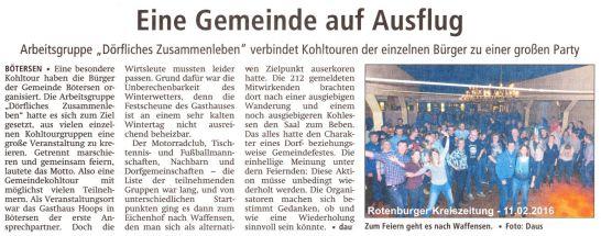 Rotenburger Kreiszeitung vom 11.02.2016