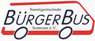 Logo des Bürgerbusses. Es zeigt den Umriss eines Kleinbissen in rot mit Beschriftung im Inneren.