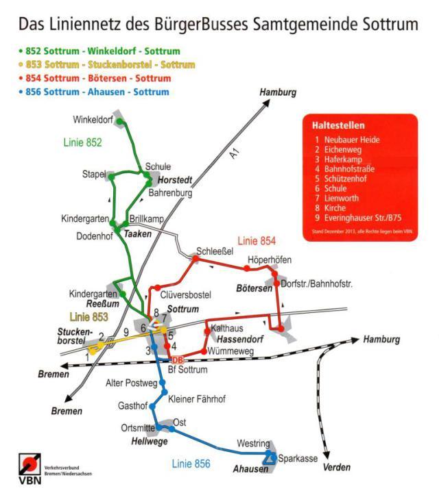 Eine Tafel des Liniennetzplan vom Bürgerbus Sottrum.