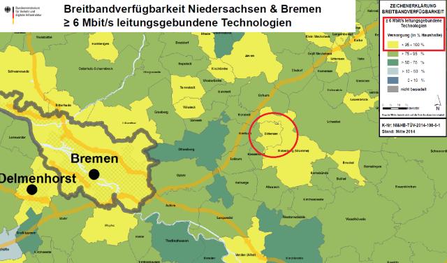 Eine Karte der Mitte von Niedersachensen mit Bötersen als Zentralpunkt. Es zeigt die Breitbandstärken der Regionen.